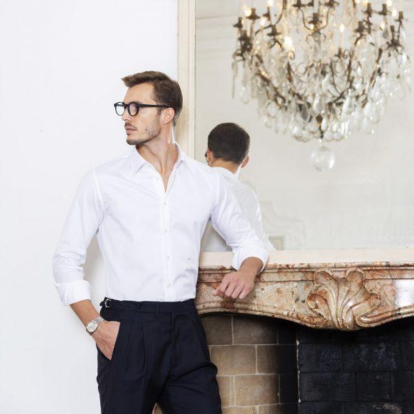 camicia bianca su misura da uomo